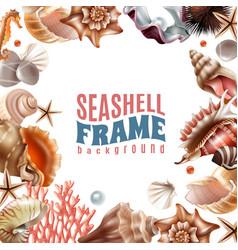 Seashell realistic frame vector