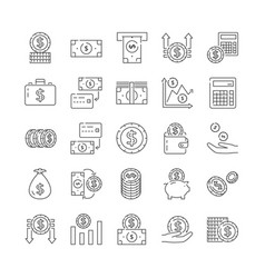 set black and white financial icons with coins vector image