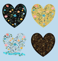 Set of floral romantic hearts vector