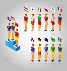 set of girls weared in national colors with flags vector image