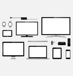 set of realistic smart tv computer monitors vector image