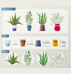 set plants cartoon vector image