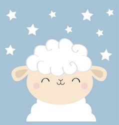 Sheep lamb sleeping face head iconcute cartoon vector