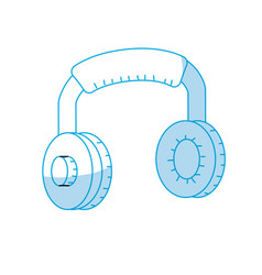Silhouette headphones to listen and play music vector
