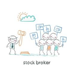 Stock brokers buy stocks vector