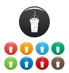 strawberry smoothie icons set color vector image