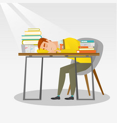 student sleeping at the desk with book vector image
