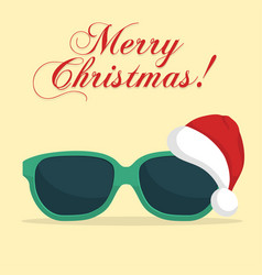 Sunglasses with santa klaus hat vector