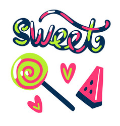 Sweet stickers candy and watermelon vector