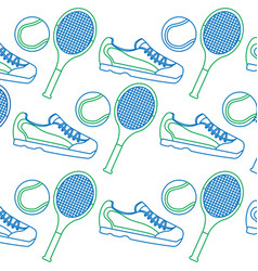 Tennis racquet sneakers and ball icon imag vector