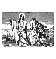 The temptation of jesus by satan vintage vector