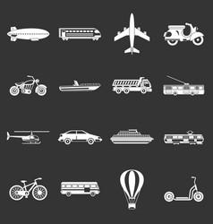 transportation icons set grey vector image