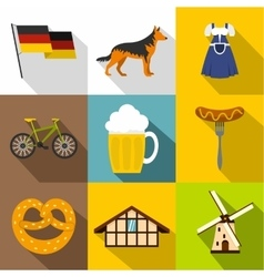 Travel to germany icons set flat style vector