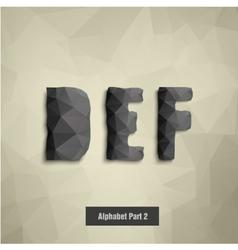 Triangular dark alphabet d e f vector