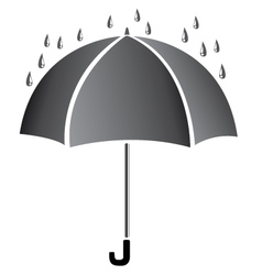 Umbrella with water Black umbrella isolated on vector