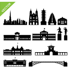 Vietnam ho chi minh city landmark and skyline vector