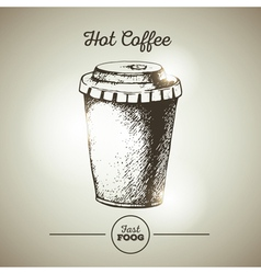 Vintage fast food cup of coffee sketch vector image