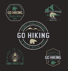 vintage hiking logos mountain adventure badges vector image