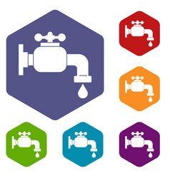 Water tap icons set hexagon vector