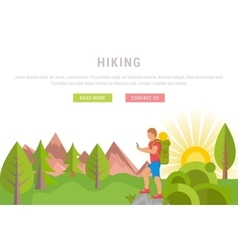Web Banner hiking vector image