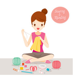 Woman sewing and mending clothes by hand vector