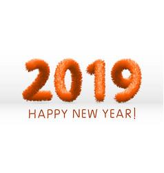 wooly orange hairy shaggy wool 2019 happy new vector image
