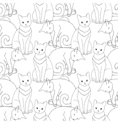Black and white seamless pattern with cat vector image vector image