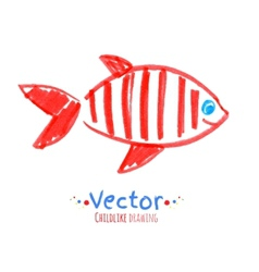 Felt pen childlike drawing of fish vector image