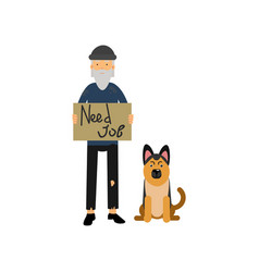 homeless man with his dog needing for job cartoon vector image