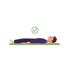 man lying on his back in healthy sleep position vector image