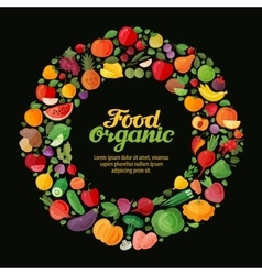 Organic food collection fresh fruits and vector