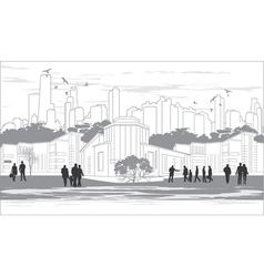 silhouettes of people in black and white vector image vector image