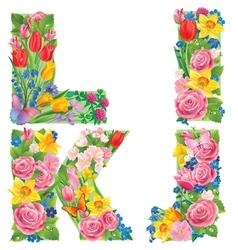 Alphabet of flowers IJKL vector image