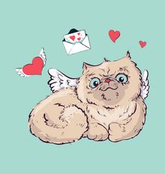 angel cat graphics vector image vector image