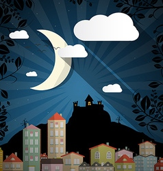 Dark Scene with Moon - Spooky Castle and Buildings vector image