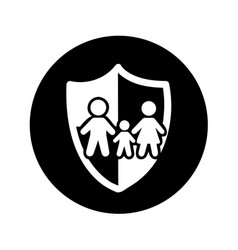 family insurance silhouette icon vector image