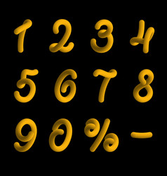 golden numbers in 3d style vector image