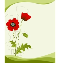 Poppy flower isolated on a green background vector image