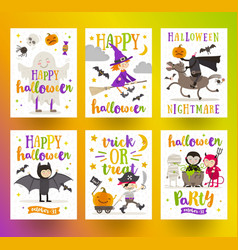 set of halloween holidays posters or greeting card vector image vector image