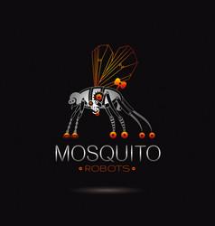 cybernetic robot mosquito logo icon vector image