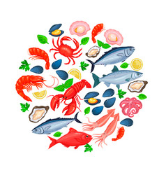 icons seafood vector image vector image