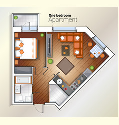 Modern one bedroom apartment top view vector