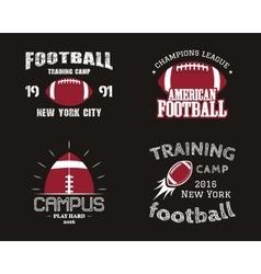 Set of american football team campus badges logos vector image vector image