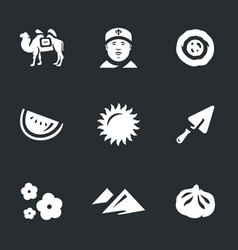 set of uzbekistan icons vector image