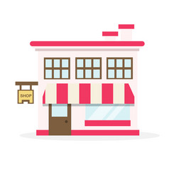 shop house flat design vector image