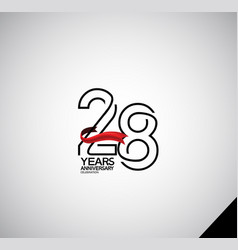 28 years anniversary logotype simple design vector