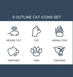6 cat icons vector