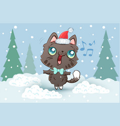 a cute cat in santa hat for vector image