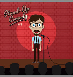 adult male stand up comedian cartoon character on vector image