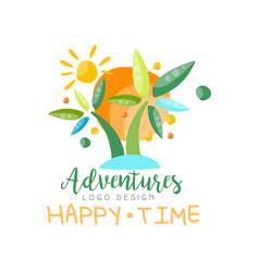 adventures happy time logo design beach summer vector image